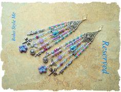 Reserved - Boho Style Earrings, Long Dragonfly Chandelier Assemblage Earrings, Bohemian Jewelry, Boho Style Me, Kaye Kraus by BohoStyleMe on Etsy