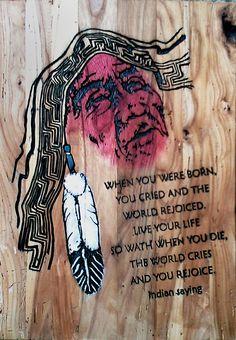 Native American Incisione colorata su tavola di rovere