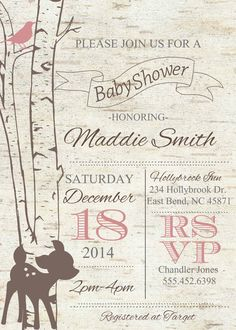 Birch Tree Deer Baby Shower invitation Pink by themilkandcreamco