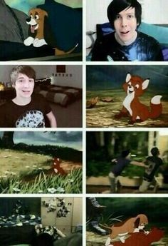 Dan & Phil and Fox & the Hound <3 <3<------I seriously want to cry. I love that movie and I love their friendship.