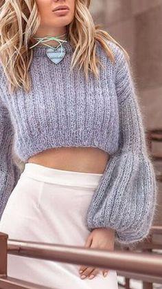 Knitwear Fashion, Cardigan Fashion, Knit Fashion, Crochet Blouse, Knit Crochet, Knit Art, Crochet Motifs, Crop Top Sweater, Mohair Sweater