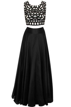 Black and white embroidered crop top with black lehenga available only at Pernia's Pop-Up Shop.
