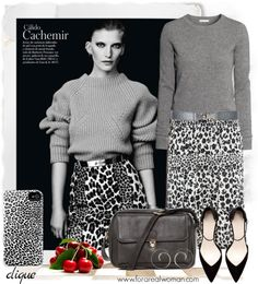 Look for Less: Get the look of Valerija Kelava. Snow Leopard and Gray Cashmere Outfit. #clique #iphoneshell