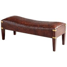 Cyan Design Mechi Bench Mechi Inch Tall Wood and Leather Bench Made in Ind Brown Indoor Furniture Benches NULL Bench Furniture, Living Room Furniture, Furniture Ideas, Modern Furniture, Leather Bench, Bench With Storage, Upholstered Bench, Fine Linens, Wood