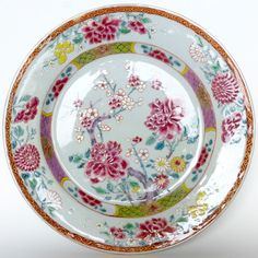 Plat Famille rose Qianlong Compagnie des Indes 18ème / chinese export dish. OSELLAME's Collection.
