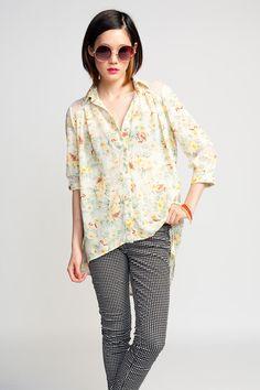 Mink Pink True Romance Shirt $72 #bohemian #floral #romantic #shirt #print #sheer #lace #minkpink