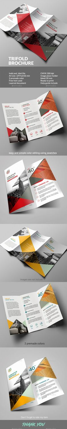 Trifold Brochure — InDesign INDD #clean #elegant • Available here → https://graphicriver.net/item/trifold-brochure/19572160?ref=pxcr