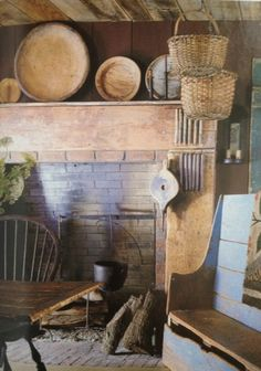 Hearth, baskets, bench, Windsor chair, wooden plates, sconce...