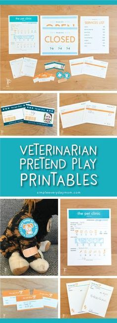 printable vet clinic pretend play | Toddlers, preschoolers and kindergarteners will love these dramatic play printables! Print them out for home, school or wherever and let their imagination run wild! #homeschoolingideasfortoddlers