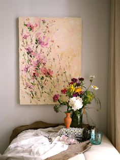 Flower Painting Oil Palette Knife Painting on Canvas Peony Painting Abstract…