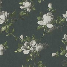 Emilia Rose Floral Wallpaper Charcoal and Grey Rasch 502176 Adele Wallpaper, Black Wallpaper, Wallpaper Roll, Pattern Wallpaper, Estilo Floral, Wallpaper Collection, Jacobean Embroidery, Canvas Background, Traditional Roses
