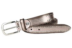 Metallic-Look. Aus hochwertigem Rindleder. Mit Nieten. Abgerundete Metallschließe. Breite ca. 3 cm....