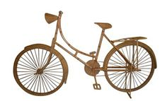 Objects/Wicker Bike (1stDibs)  - I see a a classic cruiser bike in rattan peel wrap/coil weave, white washed. True to size.
