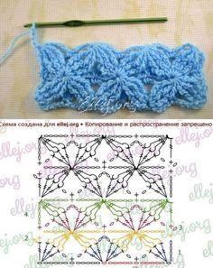 Ideas for knitting stitches bobble posts Crochet Stitches Chart, Crochet Symbols, Crochet Motifs, Granny Square Crochet Pattern, Crochet Diagram, Crochet Squares, Knitting Stitches, Knitting Patterns, Crochet Patterns