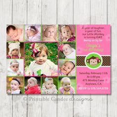 Mod Monkey Girl First Birthday Invitation - Photo Collage - DIY Custom Printable