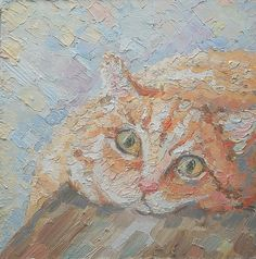Hey, I found this really awesome Etsy listing at https://www.etsy.com/listing/250534849/original-oil-painting-ginger-cat-face-on