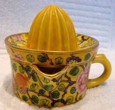 French Porcelain Citrus Reamer Squeezer Paris Delvaux Artist Decorated Hand Painted Art Deco. ca.1920-1935.
