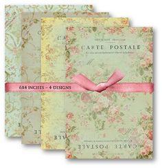 Digital Papers Floral French Carte Postale Digital Scrapbooking Paper Pack Set No.457. $4.50, via Etsy.