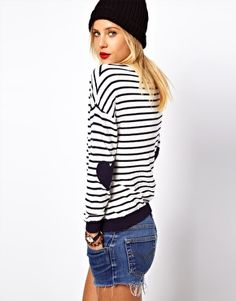find a striped sweater; add heart-shaped elbow patches!