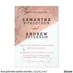 Rose gold white marble color block wedding 5x7 paper invitation card
