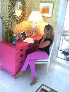 Interior Designer Jenny Andrews at her home desk.