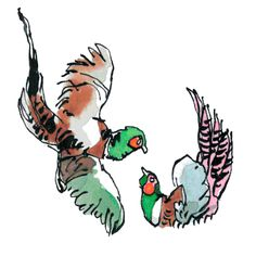 Another little animated gif of pheasants, fighting this time. Animated Gif, Watercolour, Rooster, Animation, Animals, Pen And Wash, Watercolor Painting, Animales, Animaux