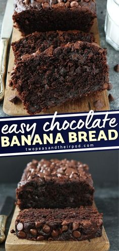 This Chocolate Banana Bread is the ultimate banana bread. It is SO rich and divine! It is probably the best banana bread in the history of all banana breads. The chocolate flavor is so intense yet you can still taste the banana. This easy breakfast recipe is every chocolate lovers dream!