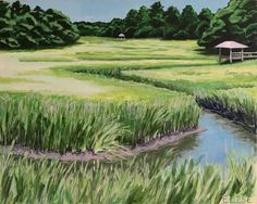 Looking West From Shem Creek | Elise Nuckols Art | Acrylic on birch panel
