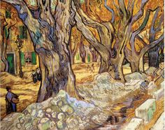 Large Plane Trees #1 (AKA: The Road Menders) - Vincent van Gogh - Painted in November 1889 while in the Saint-Rémy Asylum - Current location:  Cleveland Museum of Art, Cleveland, USA  ...............#G