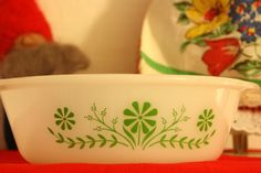 Glasbake Green and White Matching set of Lidded by NikkiRyann, $22.00