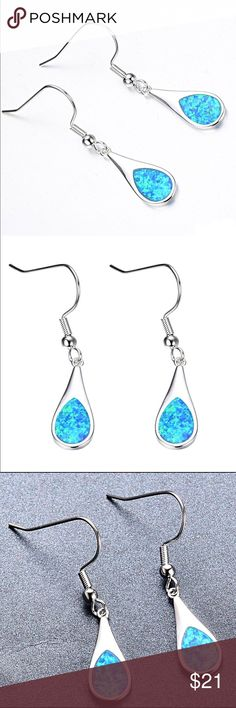 925 Blue Fire Opal Dangle Earrings NWT 925 Blue Fire Opal Dangle Earrings NWT:  so pretty! Jewelry Earrings
