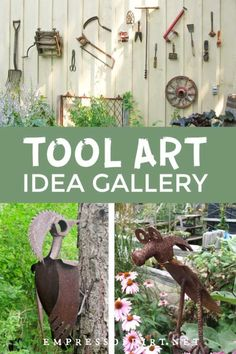 Old metal tools used as garden art and made into creative animals including cats and birds.