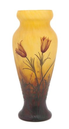 A Daum Cameo and Enameled Glass Vase, Height 10 5/8 inches.