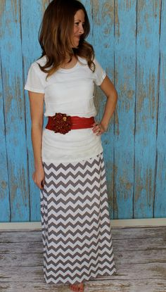 Chevron Maxi Skirt A line style in Grey and White by Gogreenstyle, $60.00