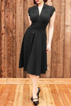 Vintage Stand Collar Solid Color Pleated Midi Dress For Women Vintage Dresses | RoseGal.com Mobile