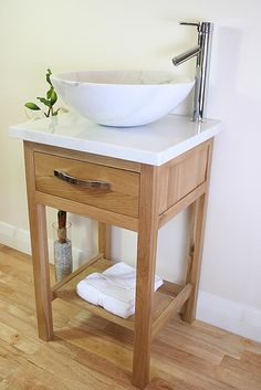 White Marble Top and White Marble bowl basin unit - small bathroom ideas. BATHROOMS AND MORE STORE