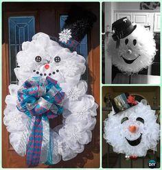 DIY Mesh Snowman Wreath Instructions- Christmas Wreath Craft Ideas Holiday Decoration by amalia Snowman Christmas Ornaments, Christmas Mesh Wreaths, Snowman Wreath, Snowman Crafts, Christmas Projects, Holiday Crafts, Christmas Holidays, Winter Wreaths, Holiday Ideas