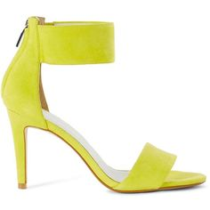 Karen Millen Suede Ankle Cuff High Heel Sandals (2,385 MXN) ❤ liked on Polyvore featuring shoes, sandals, lime, suede leather shoes, suede sandals, heeled sandals, suede shoes and lime shoes