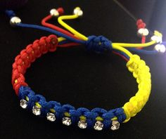 Venezuela bracelet for women / parachute cord / with 7 sparkling 'stars' - SOS Venezuela - Show your support, $15.00