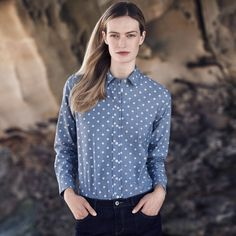 Casual Blues | Off-duty dressing begins with the perfect button-down shirt and reliable layers in easy blue tones to uncomplicate your weekend.