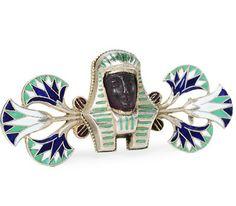 Egyptian Revival Enamel Silver Brooch - The Three Graces