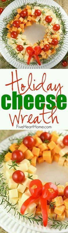 Botana de quesos navideña.
