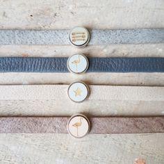 Leren armband met houten cabuchon