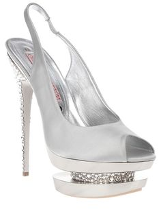 Grey suede elasticated slingback peep toe sandal from Gianmarco Lorenzi featuring a crystal embellished heel and a patent effect platform with an inversed crystal embellished detail.
