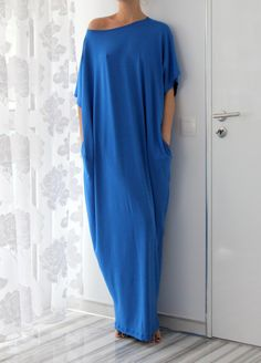 Blue Caftan Dress Maxi Dress Oversized by cherryblossomsdress