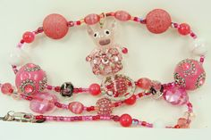 Handmade Pig Beaded Lanyard with Dark Pink by BetsysBeadworks, $20.00