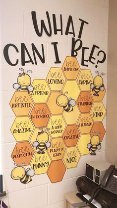 Summer Bulletin Boards For Daycare Discover What can I BEE? Bulletin Board - Waldrons Wonders Teachers Pay Teachers No prep printable bulletin board to brighten up your classroom! Bee Bulletin Boards, Bulletin Board Ideas For Teachers, Counselor Bulletin Boards, Elementary Bulletin Boards, Kindergarten Bulletin Boards, Teacher Bulletin Boards, Newspaper Bulletin Board, School Counselor Door, Preschool Classroom Jobs