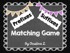 Fun matching games and activities! These activities cover the following prefixes and suffixes:  in, un, mis, pre, dis, re, non, mid, im, bi, inter, pro, anti, ex, under, sub,ly, er, est, er/or, ed, ful, less, able/ible, ion, ment, ness, ous $