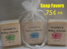 Baby Shower Favor-Elephant Favor-Personalized Party Favor-24, 1oz. handmade soap Favors on Etsy, $18.00