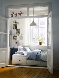 Love the reminder that bedrooms don't need to be big to be beautiful and functional.